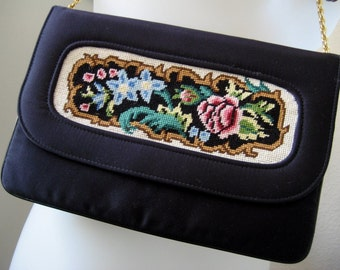 Vintage Clutch Black Stylish Embroidered Floral Print Purse Evening Bag Night Out Women's Accessories San Diego California USA