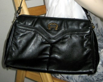 Vintage Black Leather Handbag Etienne Aigner Designer Purse