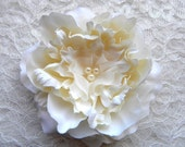 Luxe Champagne Peony Hair Flower, Bridal, Wedding, Fascinator, Clip, Comb, Headpiece, Pin