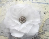 Soleil White Bridal Hair Flower, Large, Statement, Wedding, Headpiece, Clip, Fascinator, Rhinestone,  Hairpiece