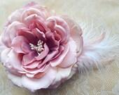 Glamorous Mae Deep Blush Pink Hair Flower Fascinator