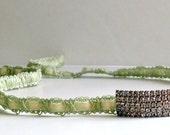 Vintage Bridal Mint Headband, Head Piece, Rhinestone, Velvet Ribbon, Wedding, Tie, Crown, Headwrap