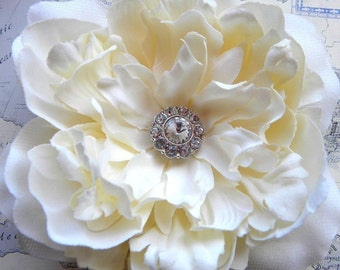 Grace II Champagne Ivory Peony Bridal Hair Flower with Rhinestone Center, Wedding, Bridal, Large