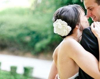 Large Champagne Brunch Bridal Hair Flower, Ivory, Wedding, Rhinestone, Fascinator, Headpiece, Clip