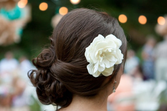 A Little Grace Ivory Peony Hair Flower