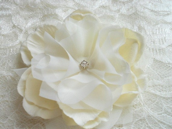 Lourdes Champagne Ivory and Diamond Hair Flower or Pin