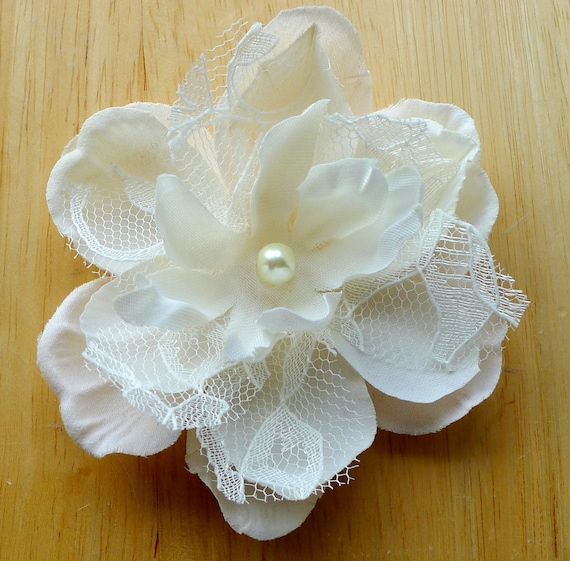 Romantic Lacey Gracie Champagne Ivory  Bridal Peony Hair Flower Fascinator- Clip- Wedding- Gift- Lace
