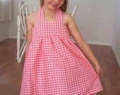 Pink and White Gingham Little Girl's Summer Dress 4T - 5T