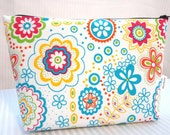 Zipper Pouch Cosmetic Bag - Pink, Blue, Green, Yellow, Orange Floral Print on White