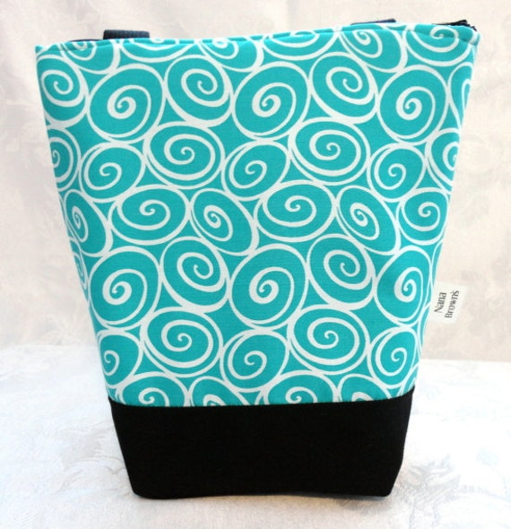 Insulated Lunch Bag - Michael Miller Turquoise & White Scrollwork