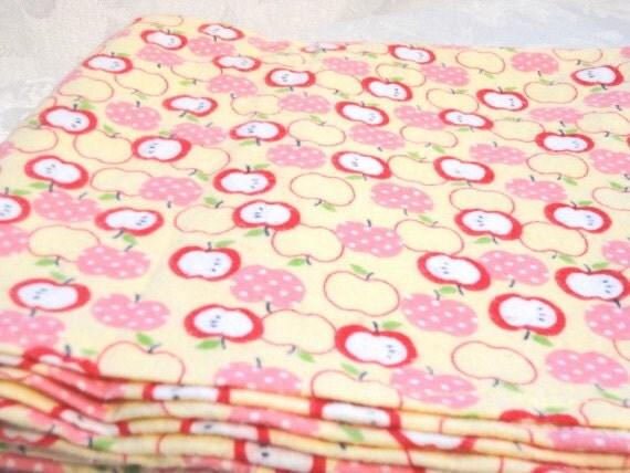 Large Cotton Flannel Receiving Blanket, Baby Blanket - Red & Pink Apples on Yellow
