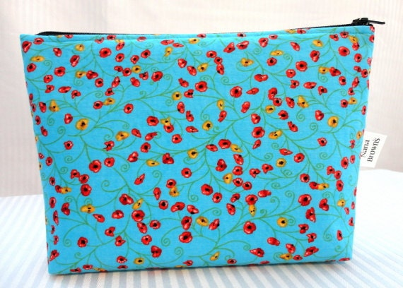 Zipper Pouch Cosmetic Bag - Red & Yellow Poppies on Blue