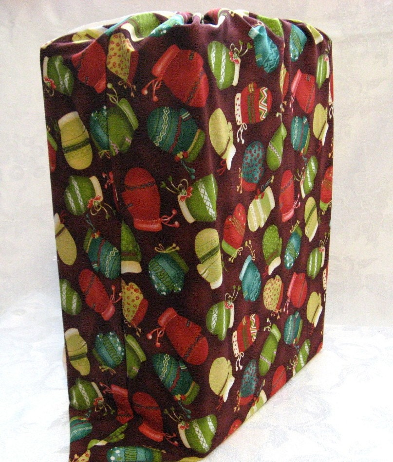 Reusable Fabric Gift Bag X Large Burgundy Red Mittens
