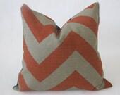 Decorative Designer Pillow Cover-20 inch-Large Chevron Zig Zag In Brick And Stone