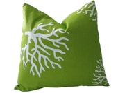 Free US Shipping-Ships In 24 hours-Decorative Designer Pillow Cover-Indoor/Outdoor-Vibrant Green And Reef Coral-18 inch