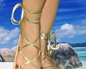 BELLA CARIBE Leather Lace Up Sandals,  GOLD Metallic