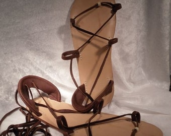 OASIS DANCE SANDALS, Leather Lace Up, Chocolate Brown
