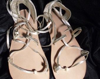 BELLA CARIBE Leather Lace Up Sandals, PLATINUM Metallic