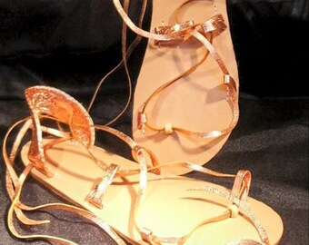 OASIS BELLY DANCE Sandals, Leather Lace Up, Metallic Penny Copper