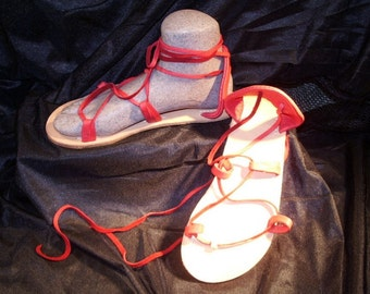 BELLA CARIBE Sandals Leather Lace Up  RED Deerskin