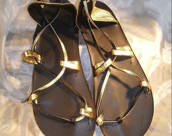 OASIS DANCE SANDALS ,Leather Lace Up   Gold and Black