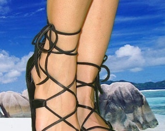 BELLA CARIBE Sandals,  Lace-up Leather,  BLACK Deerskin