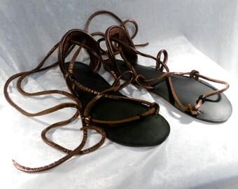 BELLA CARIBE Leather Lace Up Sandals, BRONZE Metallic