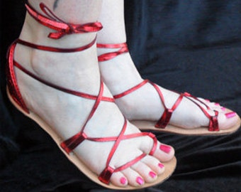 OASIS Dance Sandals  Candy Apple Red Metallic