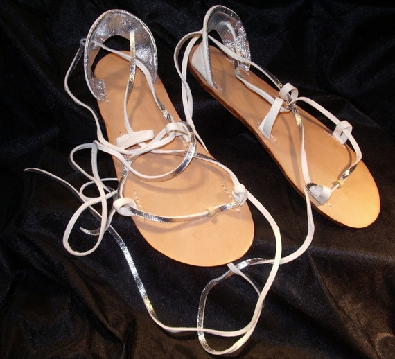 BRIDAL Sandals, BELLA CARIBE Leather Lace Up Silver and White