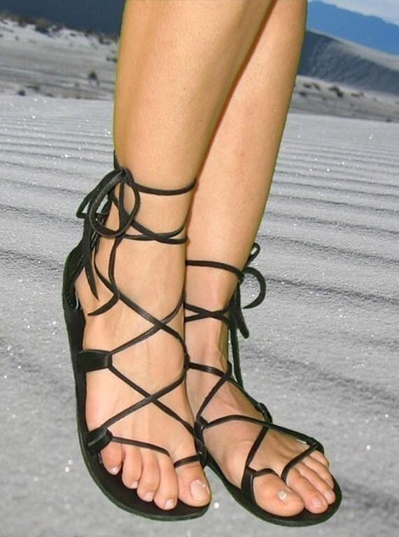 Black Lace up Sandals uk Sandals Leather Lace up