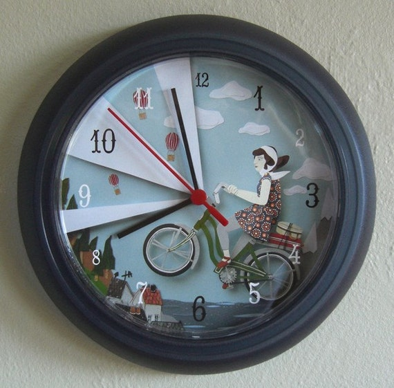 Wall Clock - The Magic Green Bike