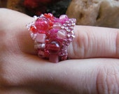 Freeform Peyote Ring Pink size 5 One of A Kind