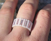 Beaded Ring Toggle White and Pink