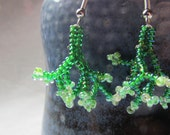 Beaded Earrings Green Coral Vine Floral Small