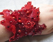 Beaded Cuff Red Freeform Peyote