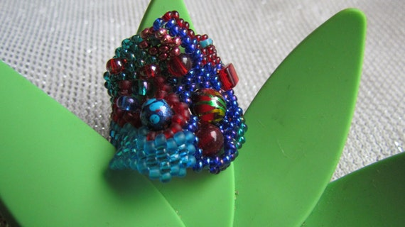 Blue and Red Freeform Peyote Ring Size 6 US