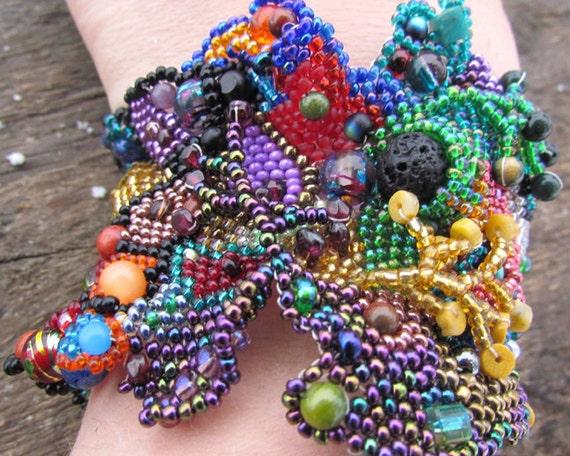 Beaded Cuff Freeform Peyote Bracelet  Multicolor