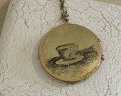 A Cup of Tea (or Joe) Custom Brass Locket - made to order