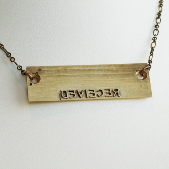 Reserved - Vintage Printing Block Necklace- Made to Order