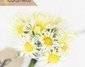 12 Vintage style Yellow Fabric Daisy Flowers