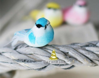 Set of 6 Pastel Mini mushroom birds