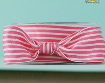 Pink and White Stripe Grosgrain Ribbon