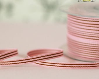 Pink and Brown Stripe Grosgrain Ribbon