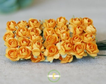 Miniature Orange Paper Millinery Flowers Roses