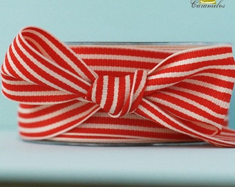 Red and Cream Stripe Grosgrain Ribbon