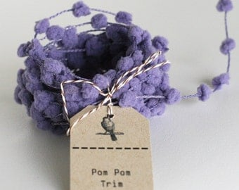 25 yd roll of Lilac wired pom pom