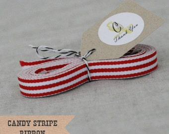 Red Candy Stripe Ribbon 3/8""