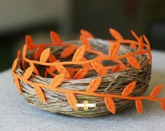 Clearance! Bulk 10 yard roll of Felt Orange Leaf Ribbon/Garland