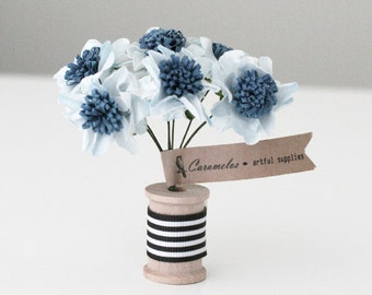 12  BLue Two Tone Pom paper flowers