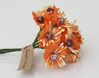 24 Orange Millinery Fabric Flowers